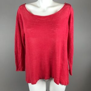 Eileen Fisher Coral Long Sleeve Knit Top Scoop Med
